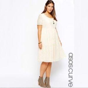 Asos Curve Lace Cream Dress Shortsleeve Sz 18